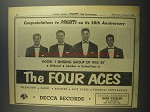 1956 Decca Records The Four Aces Ad - Variety 50th