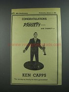 1956 Ken Capps Ad - Variety 50th Anniversary