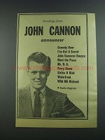1956 John Cannon Announcer Ad - Greetings From