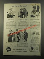 1947 Kotex Sanitary Napkins Ad - Are You In the Know?