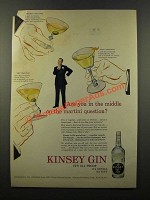 1947 Kinsey Gin Ad - The Martini Question