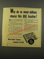 1947 Ex-Lax Laxative Ad - So Many Millions Choose
