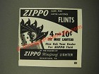 1947 Zippo Flints Ad - Sure-Fire Long Lasting