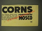 1947 Mosco Corn Remover Ad - Corns Removed By