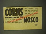 1947 Mosco Corn Remover Ad - Corns Removed