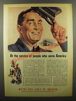 1945 Motor Bus Lines of America Ad - At the Service