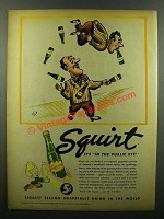 1945 Squirt Soda Ad - Cartoon by Virgil Partch