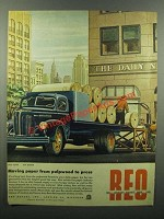 1945 REO Trucks Ad - Moving Paper From Pulpwood