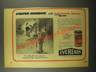 1945 Eveready Batteries Ad - Cartoon by Reamer Keller