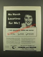 1945 Sunkist Lemons Ad - No Harsh Laxatives For Me