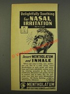 1942 Mentholatum Ointment Ad - For Nasal Irritation
