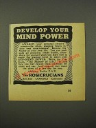1942 The Rosicrucians Ad - Develop Your Mind Power