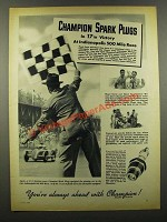 1941 Champion Spark Plugs Ad - Indianapolis 500 Race
