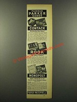1940 Parker Brothers Games Ad - Contack, Rook, Monopoly