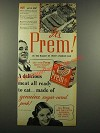 1940 Swift Prem Meat Ad - Ready to Eat