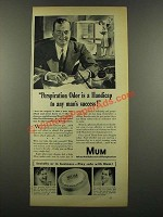 1940 Mum Deodorant Ad - Perspiration Odor is Handicap