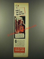 1940 Old Mr. Boston Sloe Gin Ad - Tall, Frosty Fizz