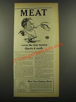 1940 American Meat Institute Ad - Even Tiny Tummy