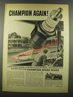 1940 Champion Spark Plugs Ad - Wilbur Shaw - Indy 500