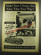 1940 Plymouth Cars Ad - Make Your Choice