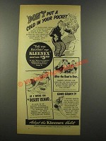 1940 Kleenex Tissues Ad - Don't Put a Cold in Pocket