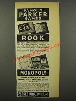 1940 Parker Brothers Games Ad - Rook, Monopoly