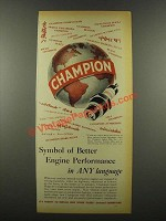 1939 Champion Spark Plugs Ad - Engine Performance