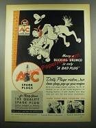 1939 AC Spark Plugs Ad - Many a Bucking Bronco