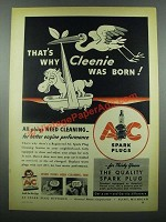 1939 AC Spark Plugs Ad - That's Why Cleenie Was Born