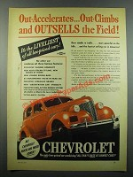 1939 Chevrolet Car Ad - Out-Accelerates Out-Climbs