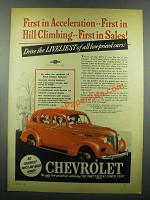 1939 Chevrolet Cars Ad - First in Acceleration