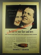 1939 Schick Shaver Ad - Be Fair to Your Face and Hers