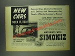 1939 Simoniz Wax Ad - New Cars Need It, Too