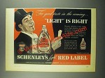 1939 Schenley's Red Label Whiskey Ad - Good Taste