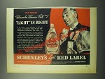 1939 Schenley's Red Label Whiskey Ad - Old Grads