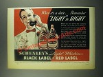 1939 Schenley's Black Label and Red Label Whiskey Ad
