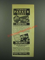 1939 Parker Brothers Contack & Monopoly Game Ad