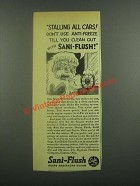 1939 Sani-Flush Cleaner Ad - Stalling All Cars