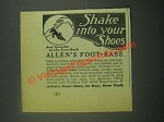 1939 Allen's Foot-Ease Ad - Shake Into Your Shoes