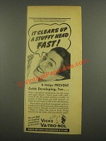 1938 Vicks Va-tro-Nol Ad - Clears Up a Stuffy Head