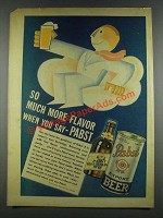 1937 Pabst Blue Ribbon Beer Ad - Much More Flavor