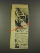 1937 Alka-Seltzer Medicine Ad - Keep Feeling Your Best