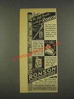 1937 Ronson Lighter Ad - Penciliter, Table, Tuxedo