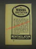 1937 Mentholatum Ointment Ad - For Nasal Irritation