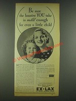 1936 Ex-Lax Laxative Ad - Mild Enough for a Child