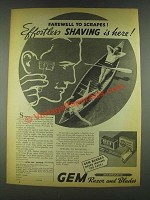 1936 Gem Razor and Blades Ad - Effortless Shaving