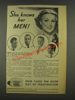 1936 Mum Deodorant Ad - She Knows Her Men