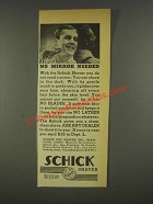 1936 Schick Shaver Ad - No Mirror Needed