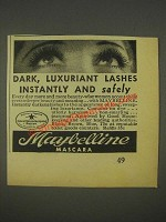 1936 Maybelline Mascara Ad - Dark, Luxuriant Lashes