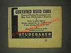 1936 Studebaker Cars Ad - Certified Used Cars